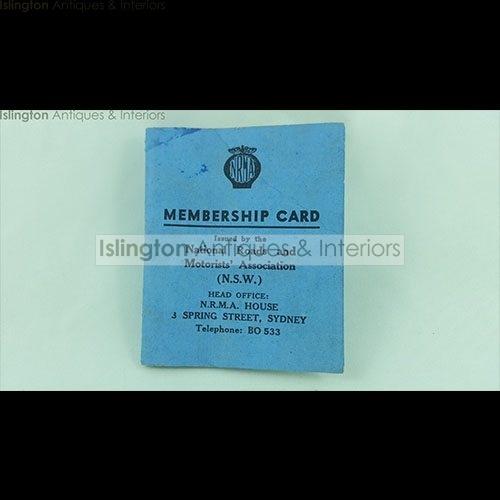 Membership Card | Nrma Membership Card 1945 Islington Antiques And Interiors